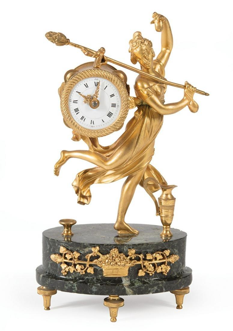French Gilt Bronze Figural Clock