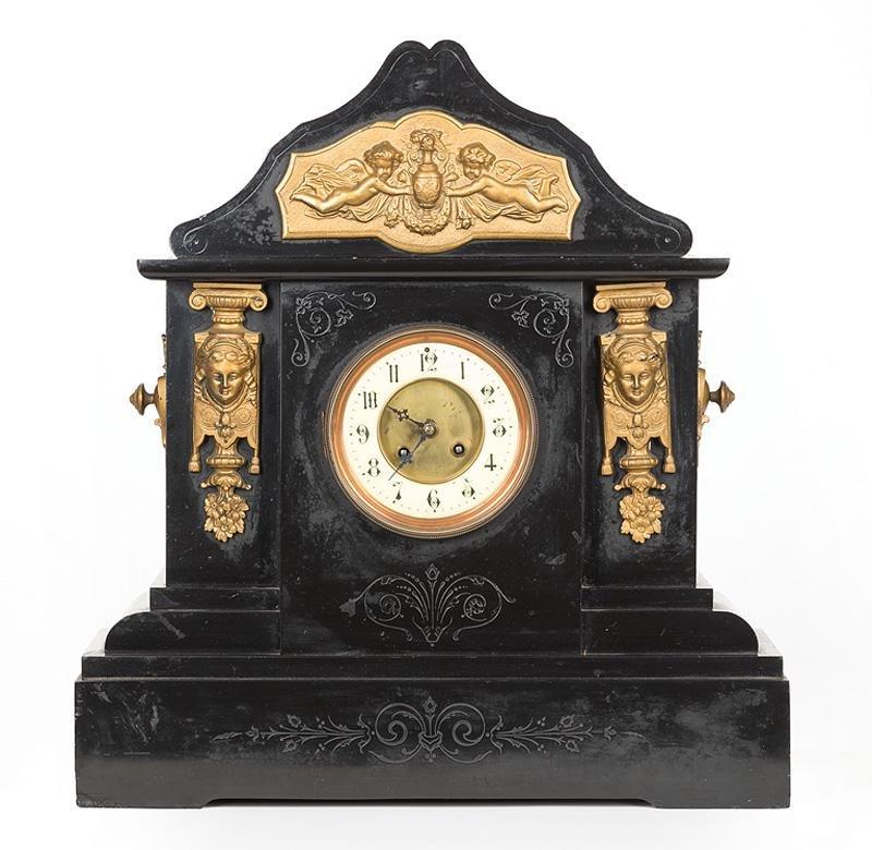 Bronze-Mounted Marble Mantel Clock