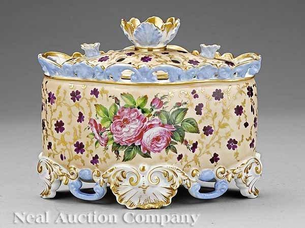 8: Paris Porcelain Polychrome Lidded Bough Pot