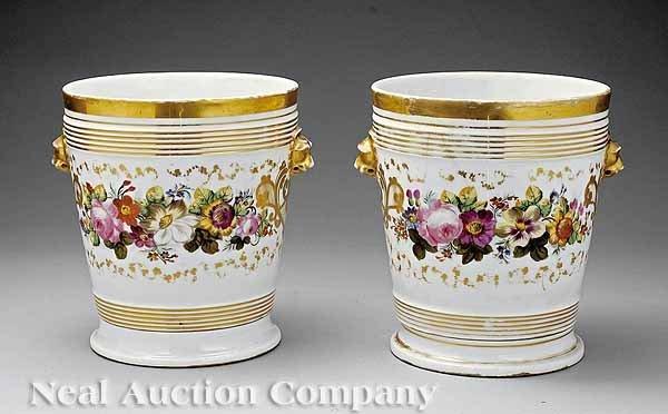 9: Pair Paris Porcelain Cachepots on Stands