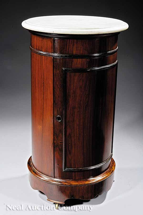 16: American Rosewood, White Marble Cylinder Commode