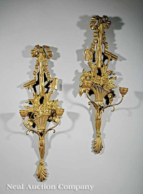 18: Pair of Italian Carved Giltwood Two-Light Sconces