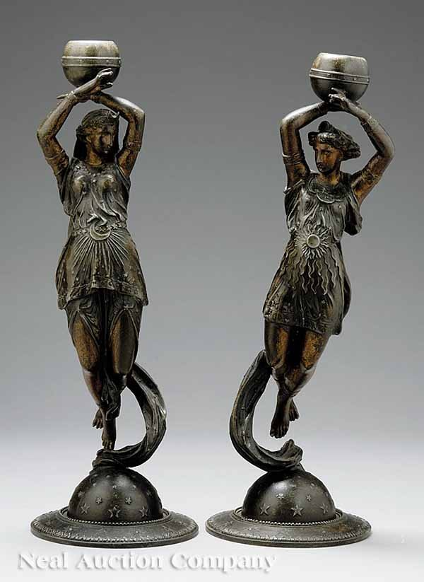19: Pair French Patinated Metal Figural Candlesticks