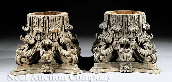 24: Pair of Composition, Pine Corinthian Capitals