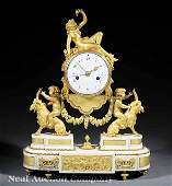 72 Napoleon III Gilt Bronze Marble Figural Clock