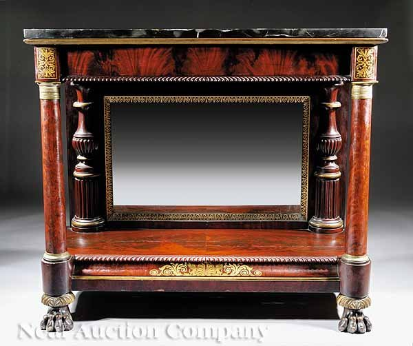75: American Classical Carved Mahogany Pier Table