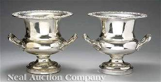 160: Pair of Antique English Silverplate Wine Coolers