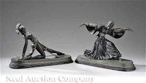 560 Pair of Continental Polychrome Bronze Figures