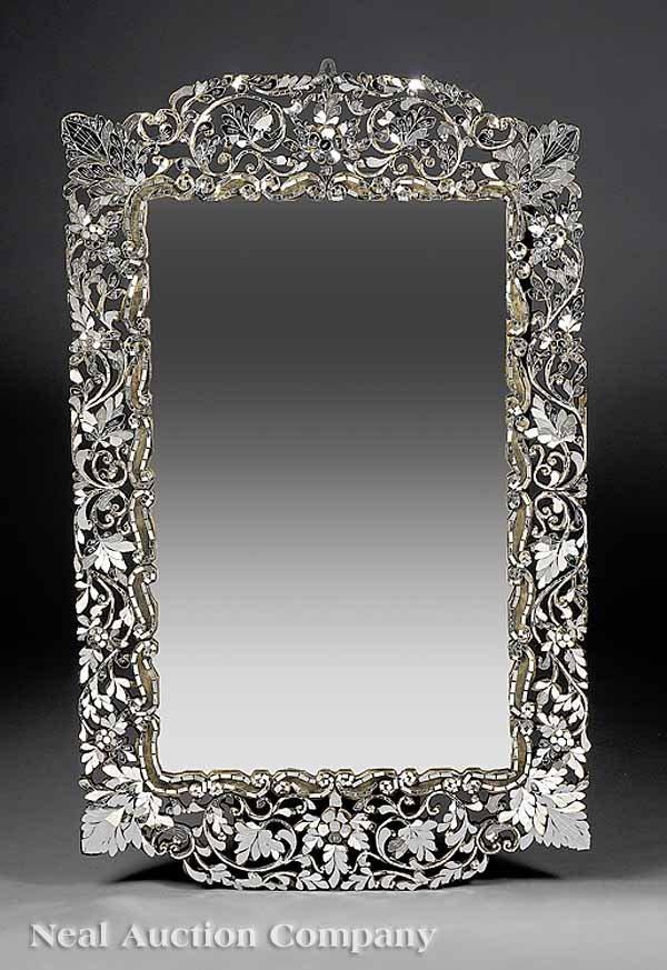 666: Pair of Decorative Venetian-Style Inlaid Mirrors
