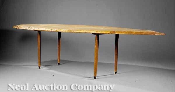 667: Art Moderne Hickory or Walnut Slab Dining Table