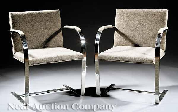 671: Pair of Knoll International Chrome Armchairs