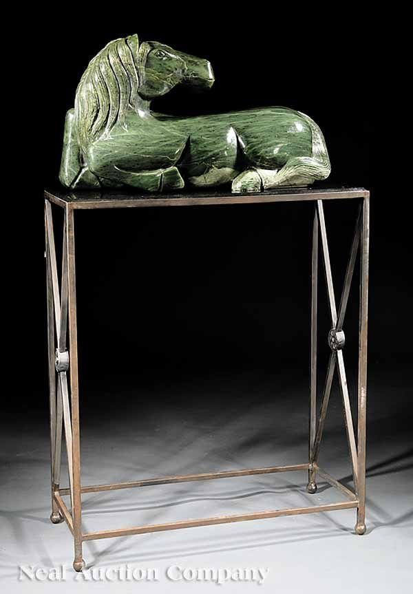 672: Finely Carved Green Hardstone Horse