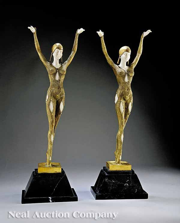 673: Art Deco-Inspired Gilt Brass, Faux Ivory Figures