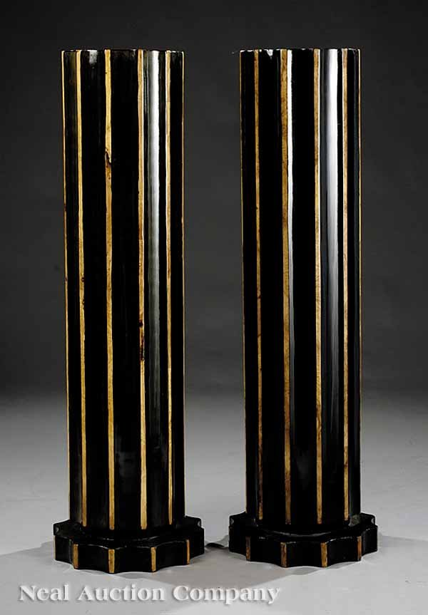 674: Pair of Art Deco-Style Paint-Decorated Pedestals