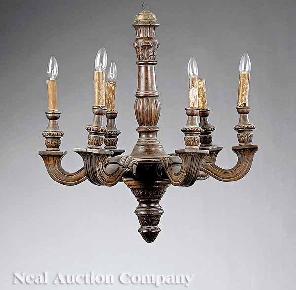 675: Italian Carved Wood Six-Light Chandelier