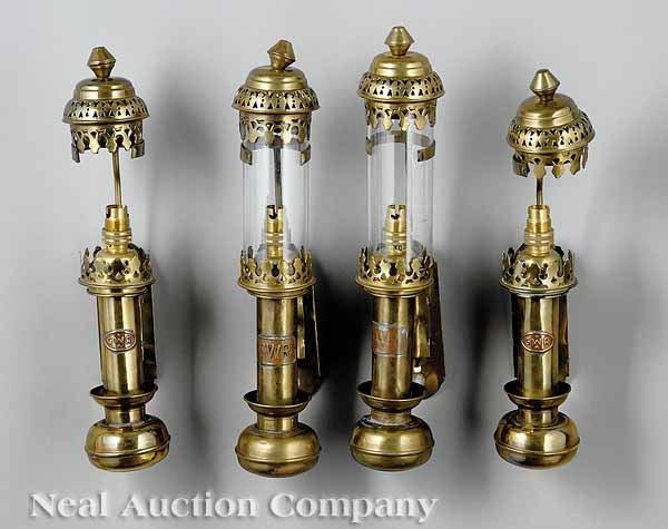676: Four English Brass Train Lamps