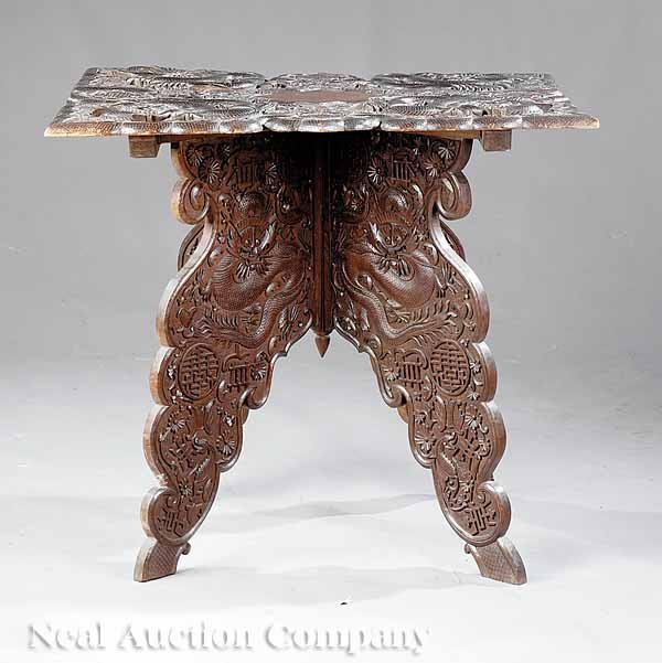 677: Chinese Carved Hardwood Center Table