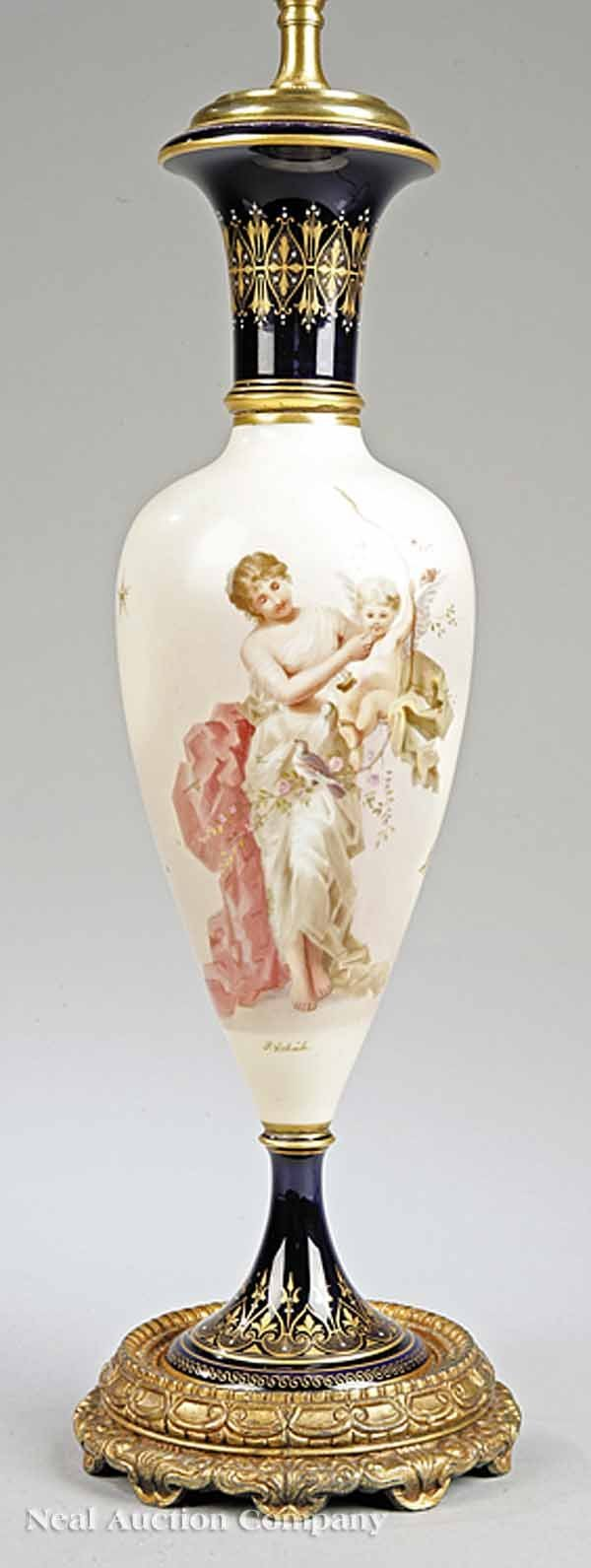 748: German Porcelain Vase Depicting Venus and Cupid