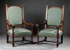 1143 A Pair of Antique English Oak Armchairs