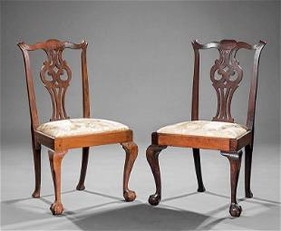 American Chippendale Carved Mahogany Side Chairs