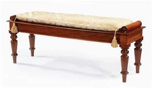 English Carved Walnut Bench