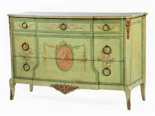 Bronze-Mounted Polychromed and Parcel Gilt Commode