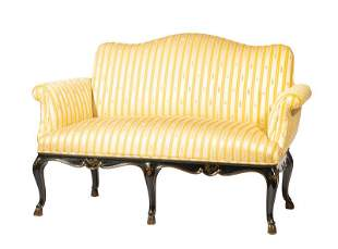 Regence-Style Lacquer and Gilt Settee