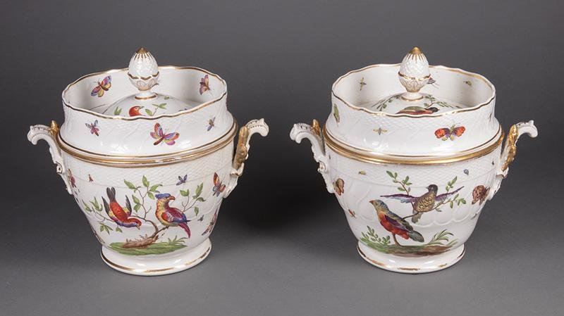 Polychrome and Gilt Porcelain Covered Fruit Coolers