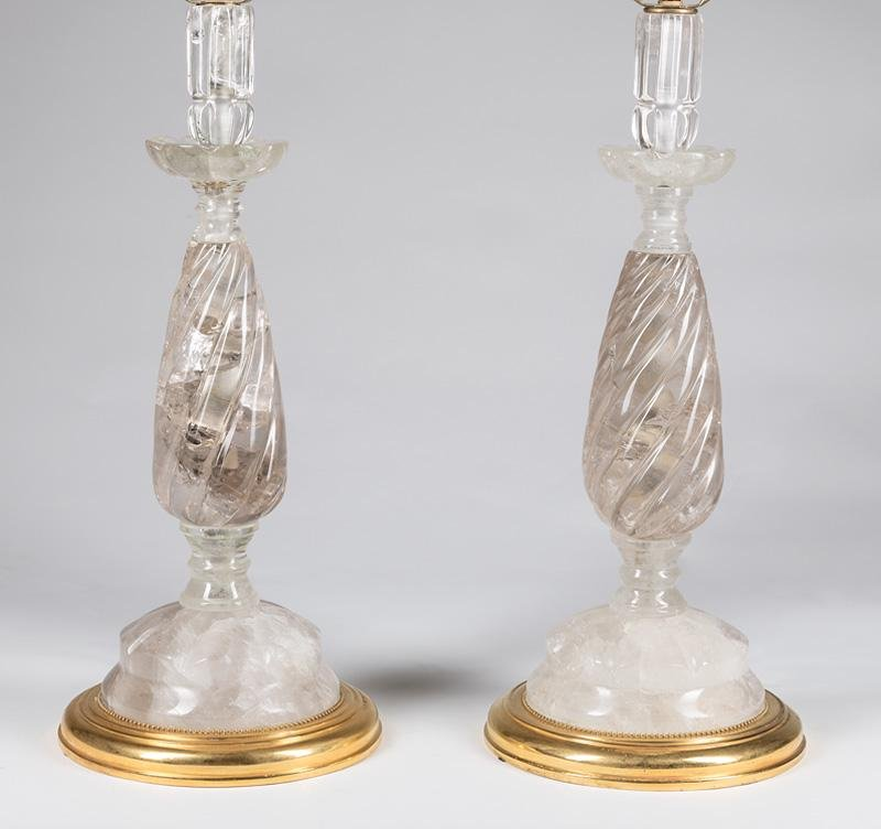 Pair of Contemporary Rock Crystal Lamps