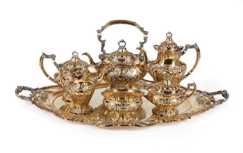 Gorham Sterling Silver Gilt Tea & Coffee Service