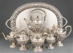 Sterling Silver Repousse Tea and Coffee Service