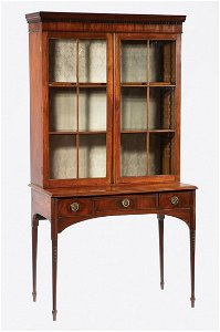 Carved and Inlaid Mahogany Bookcase on Stand