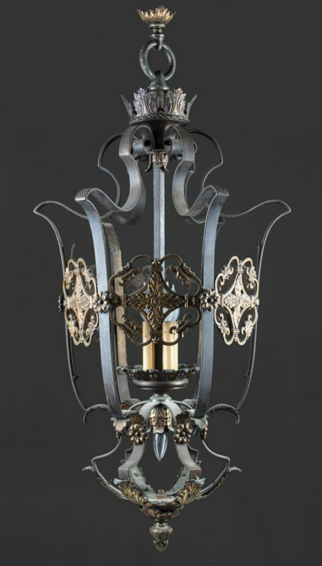 Continental Cast Iron and Bronze Chandelier