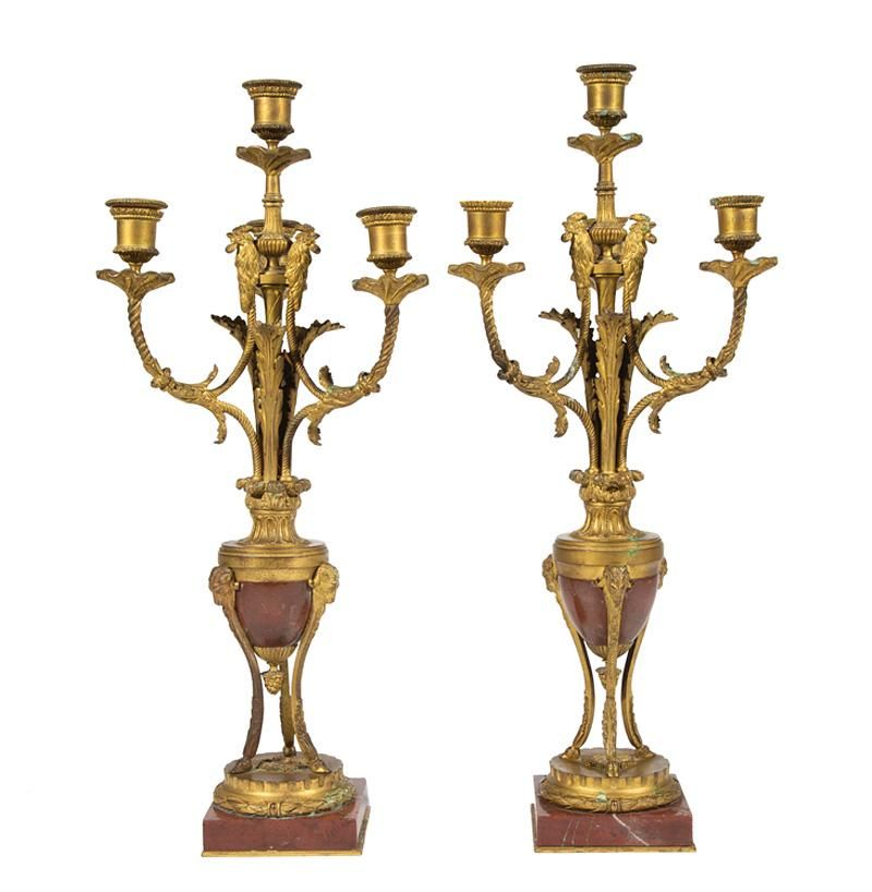 Gilt Bronze and Rouge Marble Candelabra