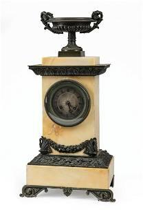 Napoleon III Bronze and Marble Mantel Clock