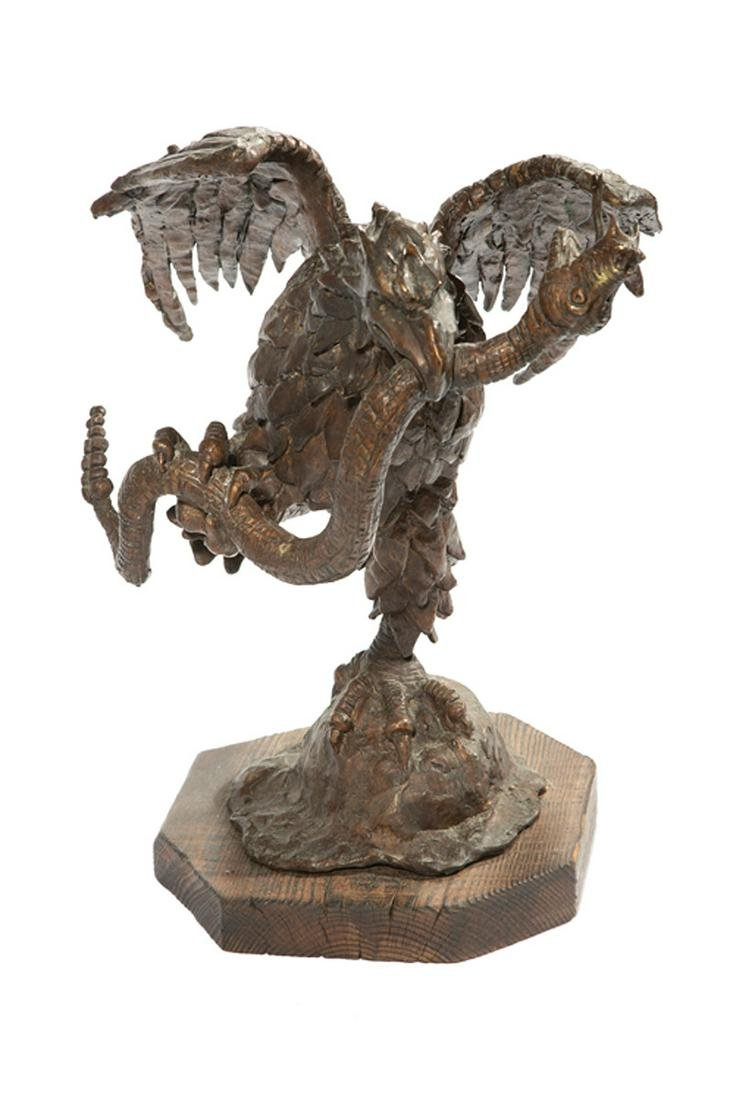Bronze Figural Group of an Eagle and Snake