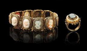 14 kt. Yellow Gold, Cameo Flexible Link Bracelet