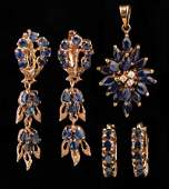 14 kt. Yellow Gold and Sapphire Pendant Earrings