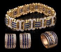 14 kt. Gold, Baguette Sapphire, Diamond Jewelry