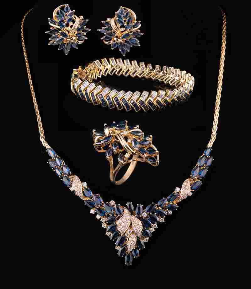 14 kt. Yellow Gold, Sapphire and Diamond Jewelry