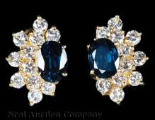 14 kt. Yellow Gold, Sapphire and Diamond Earrings