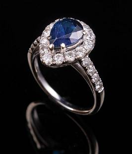 18 kt White Gold Sapphire and Diamond Ring