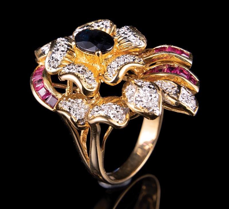 14 kt.Gold, Ruby, Sapphire, Diamond Ring