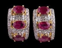 14 kt Yellow & White Gold, Ruby, Diamond Earrings