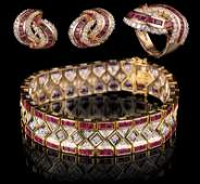 14 kt Yellow Gold Ruby and Diamond Jewerly
