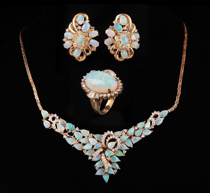 14 kt. Yellow Gold, Opal and Diamond Jewelry