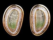 14 kt. Yellow Gold, Tourmaline, Diamond Earrings