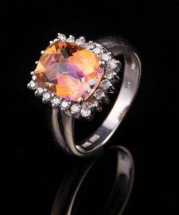14 kt White Gold Gemstone and Diamond Ring