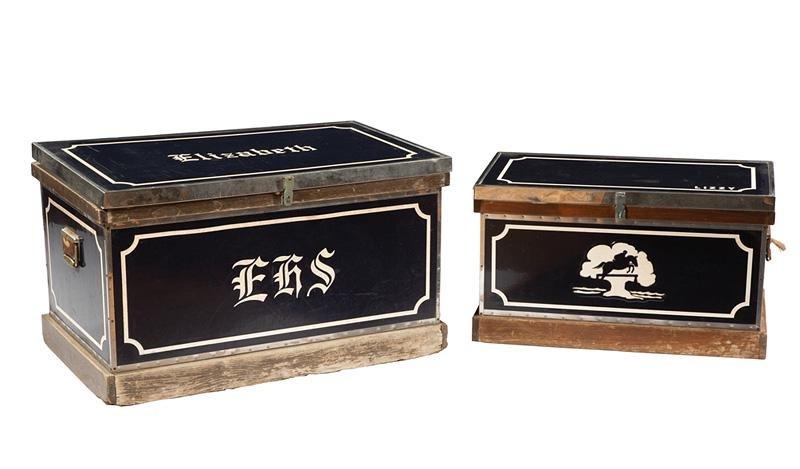 Two Vintage Metal-Mounted Wood Tack Boxes