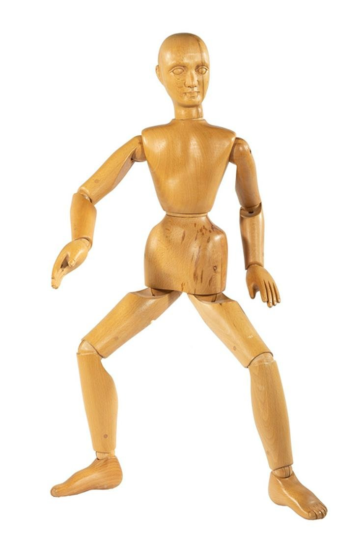 """Continental Carved Wood Artist's """"Lay"""" Figure"""